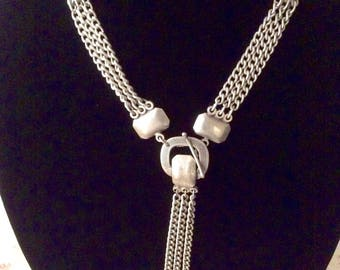 Nickel and Sterling 90's Rocker Lariat Necklace