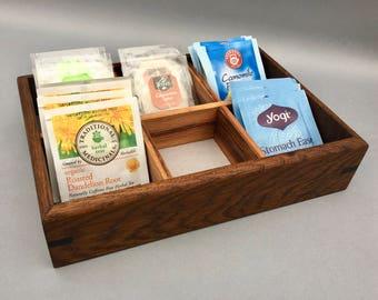 Tea Box with 6 Compartments, Tea Caddy