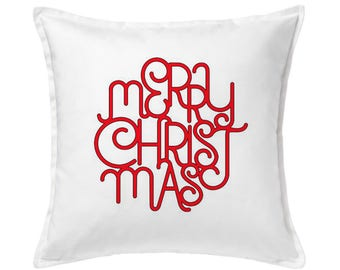 Merry Christmas Pillow, Red Christmas Pillow, Red and White Pillow, Christmas Decor, Christmas Outdoor, Holiday Pillow