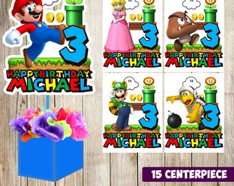 15 Super Mario Bros centerpieces, Super Mario Bros printable centerpieces, Super Mario Bros party supplies, Super Mario Bros birthday