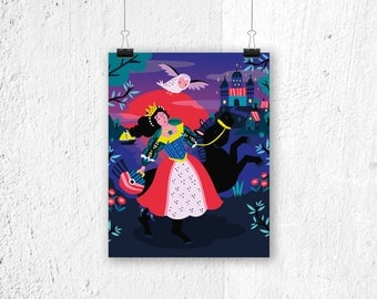 Poster Princess - print - fairytale - poster girls - princess poster - poster children's bedroom - nursery - poster kids room - girls poster