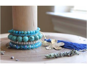 Caribe Blue stackable bracelet set