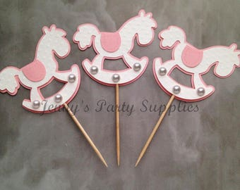 Set of 12 Rocking Horse Cupcake Toppers, Baby Shower Cupcake Toppers, Pink Horse Birthday Party