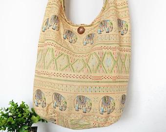 Thai Elephant Sling Shoulder Bag CrossBody Bag Messenger Bag Cotton Bag Hippie Boho Style Handmade yellow