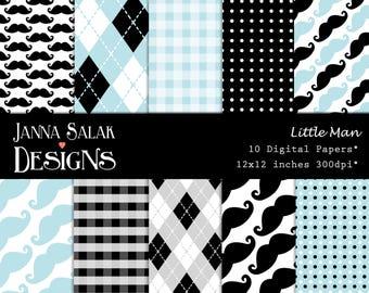 """Little Man Digital Paper Pack 10 jpg Files 12""""x12"""" - INSTANT DOWNLOAD  Black Blue Themed Set Digital Scrapbooking LM002"""