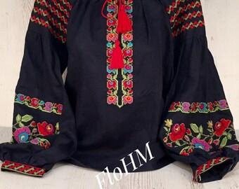 Embroidered Ukrainian Blouse Vyshyvanka, Linen Blouse