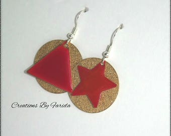 Earrings with gold glitter print and top of triangle and Red Star sequins