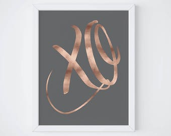 XO art print - hugs and kisses art print - inspirational quote print - rose gold decor - motivational poster - typographic quote print