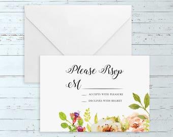 Instant Download - Editable Watercolor Floral Wedding RSVP (Printable Elegant, Romantic, Rustic Wedding RSVP w/ Pink, Peach, & Gold Flowers)