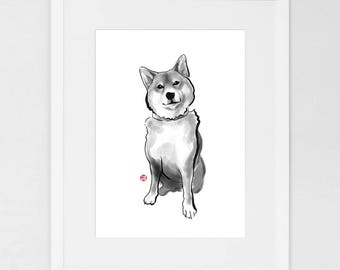 The Perfect Shiba Inu (LARGE) Art Poster Japanese Dog Sumi-e Painting Ink Zen Print Drawing Dog Lover Wall Deco Pet Brush illustration B&W