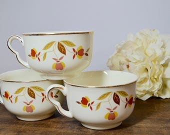 Hall Jewel Tea Autumn Leaf Tea or Coffee Cups with Gold Inlay, Jewel Tea, Hall Jewel Tea, Hall Autumn Leaf, Hall China, Hall Pottery, Coffee