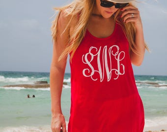 Monogrammed racerback tank dress/sun dress/swimsuit cover up/casual dress