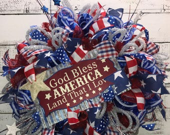 Patriotic Wreath, Patriotic Wreath for Front Door, 4th of July Wreath, Fourth of July Wreath, Patriotic, Front Door Wreath, Summer Wreath