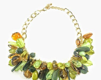 Le Blanc - Green Statement Necklace