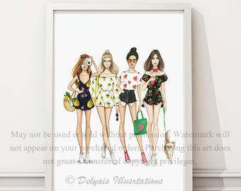 "Fruit Clique"" SPECIAL PRICE! -30%  (Fashion Illustration Print)"