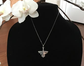Peruvian Nazca hummingbird sterling Silver pendant chain not included