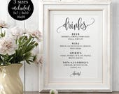 Drinks Menu Sign Editable, Modern Calligraphy Wedding Bar Menu, Printable Signature Cocktail Cheers Sign, DIY Instant Download Template