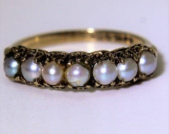Vintage 9K 9ct Yellow Gold Pearl Band Half Eternity ring size 7 1/4 ~ O