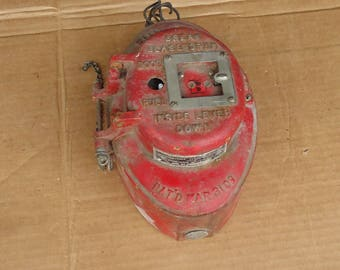 vintage fire alarm box red,ADT fire box cast iron,fire man/fire station decor