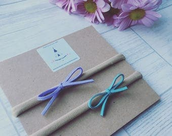 Suede bow set - lavendar and teal