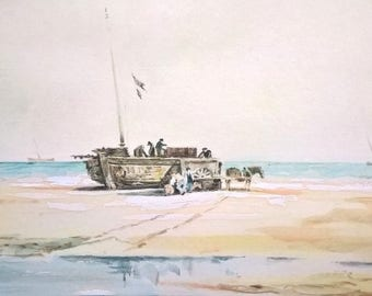 SAMUEL PROUT 1783-1852 Original Antique English Watercolour Painting Cromer Beach Fishing Trawler, Norfolk, England