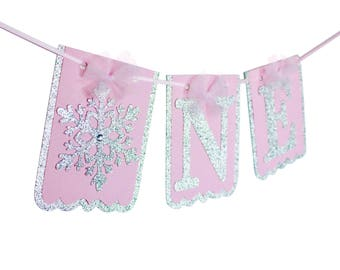 "One Snowflake Banner - Snowflake Winter ONEderland ""One"" Banner - Highchair Snowflake One Banner - Little Snowflake"