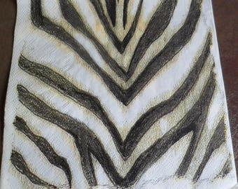 4 napkins paper Zebra skin