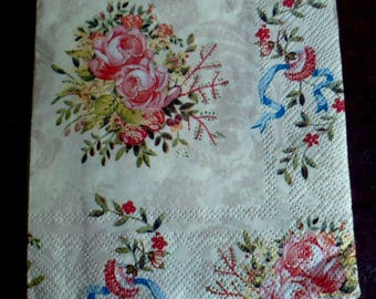 set of 5 paper towels brand Home Fashion, bouquets of roses