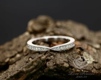 Diamond Wedding Band 14k White Gold Hybrid Prong Channel Set Diamonds half Eternity Matching Band
