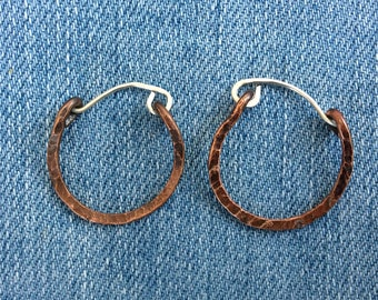 Circle silver and copper creol earrings. Creol earrings. Hammered copper and silver earrings