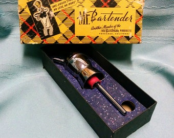 Vintage Mr. Bartender Chrome Jigger Pourer - MCM Barware - Original Box - FREE SHIPPING!