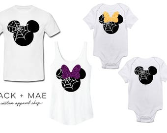 Disney Halloween Shirts, Matching Family Shirts, Not So Scary Halloween Party Costume, Spider Minnie, Spider Mickey, SPOOKY Disney Inspired