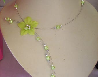 Wedding bridal evening necklace silk flower anise green, silver beads / green ceremony holiday evening bridesmaid