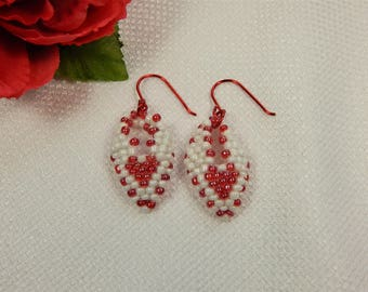 Earrings Red and White Russian Leaf Valentine Earrings (V18)