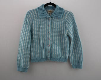 vintage KNIT cardigan sweater / baby blue / button up  >> youth - xsmall <<