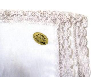 Vintage handkerchief with lace trim, Rosdale,  #96