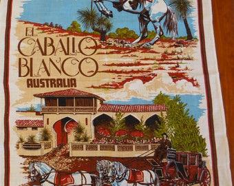 Vintage pure linen tea towel, El Caballo Blanco, Australia