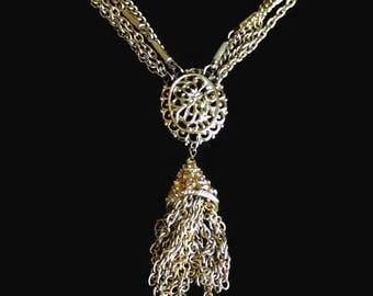 Kramer Multi Strand Tassel Necklace In Gold Tone