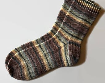KNIT TO ORDER - Hand Knit Socks Brown Green Yellow