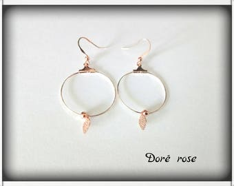 Hoop earrings pearls and rose gold leaves