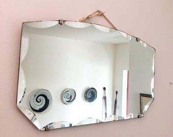 Vintage Art Deco Mirror with fan-shaped claspsVintage mirror/1930s Boho mirror/Bathroom Wall Mirror/Frameless Mirror