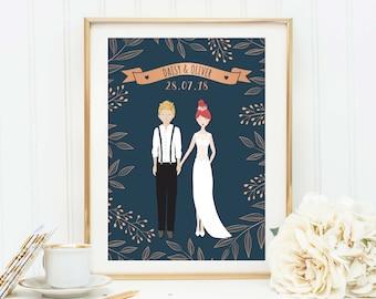 Wedding Gift Personalised, Custom Wedding Portrait, Wedding Print, Anniversary Gift, Wedding Illustration, Couple Print, Couple Illustration