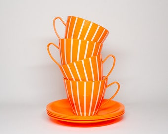 Neon Orange Welware Plastic Cups and Saucers - Camper van accessories