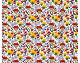 SALE Oilcloth tablecloth | Marimekko Oilcloth Pikkukellukka tablecloth | red yellow green oilcloth | Tablecloths | Marimekko oilcloth