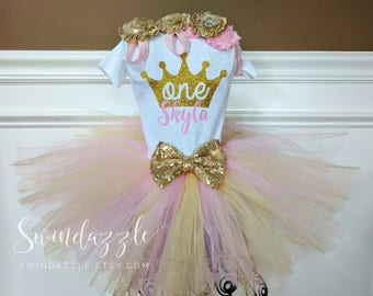Princess Birthday tutu Outfit - first birthday tutu - princess tutu outfit - crown Birthday outfit- princess theme - pink and gold theme