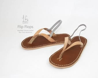 Leather Flip Flops for Children - Kids flipflops sandal -Baby  Toddler size - Non-slip - Non-Toxic