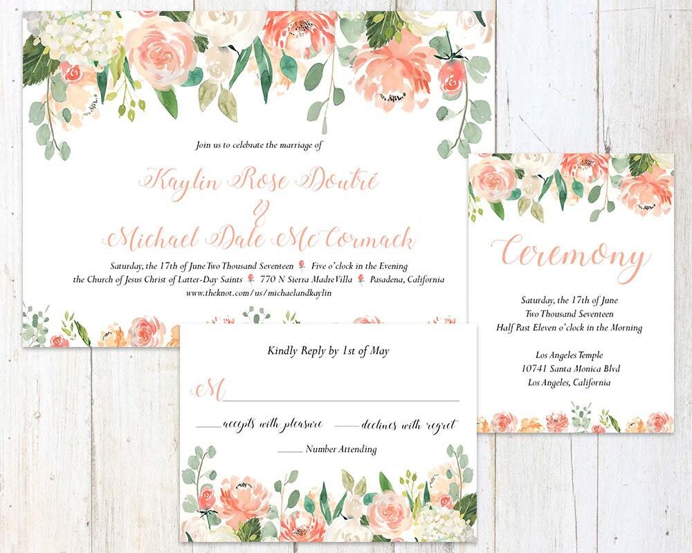 Coral Floral Wedding Invitation Suite - Coral & Ivory Wedding ...