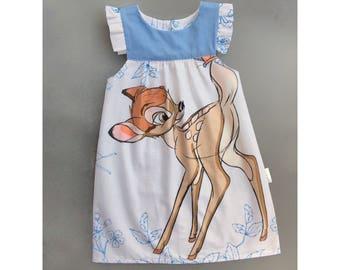 Girls ruffle sleeve dress, girls white dress, girls woodland dress, ruffle dress, party dress, birthday dress, white dress, size 5 dress