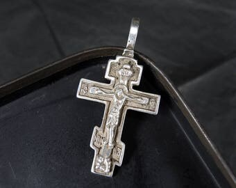 Vintage Sterling Silver Cross Jesus Christ Crucifix Bless and save #9
