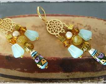 "Earrings style ethnic ""NAZCA"" ethnic ceramic, gold metal, gemstone, glass beads"